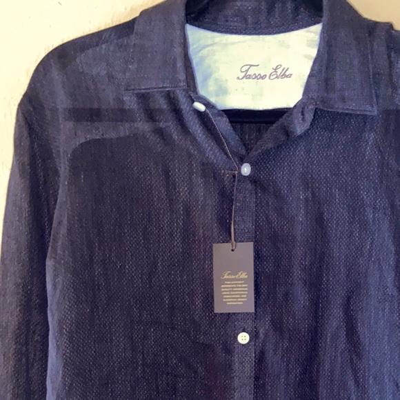 NWT- Men's Tasso Alba 100% Linen in Blue Gray